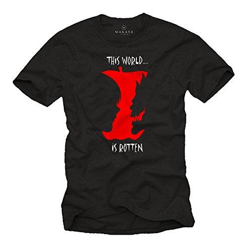 MAKAYA This World is Rotten - Ryuk Cosplay Death Note Notebook T-Shirt Black XL