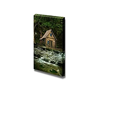 Canvas Prints Wall Art - Beautiful Forest House Over The Waterfalls | Modern Wall Decor/Home Art Stretched Gallery Canvas Wraps Giclee Print & Ready to Hang - 24
