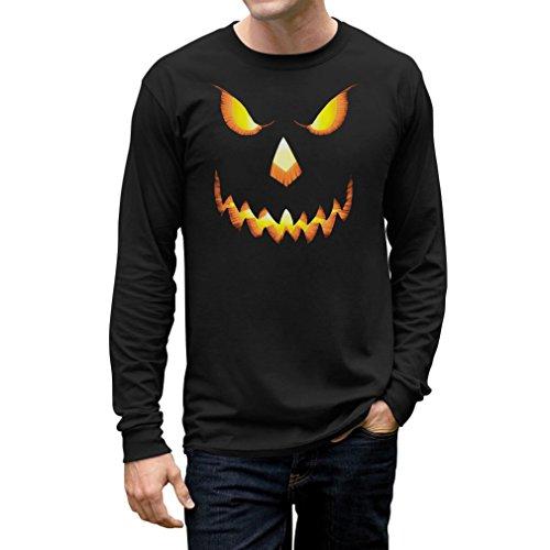 Halloween Scary Pumpkin Face Men's Long Sleeve T-Shirt Medium Black