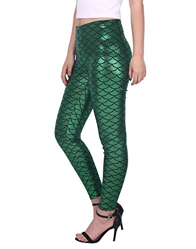 HDE Womens Shiny Leggings Mermaid Metallic Glitter Fish Scale Stretch Pants S-XL (Green, Large)