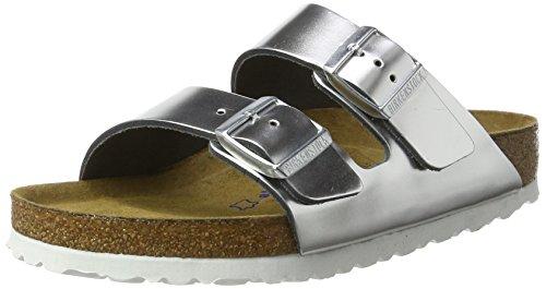 Birkenstock Arizona Leder Softfootbed - Mules Mujer Silber (Metallic Silver)