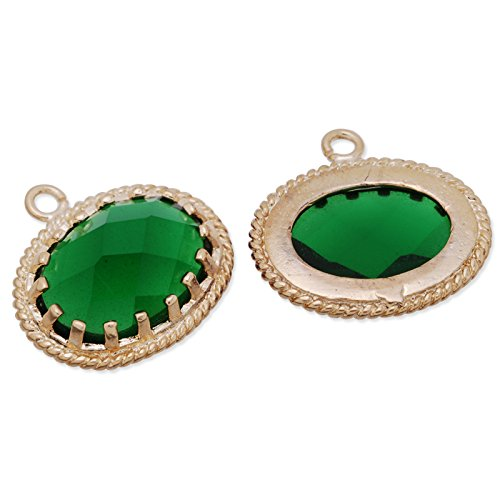 5pcs-15x16.5mm Deep Green Color Faceted Glass Charms Pendant Matte Gold Plated Frame