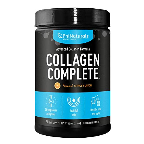 Collagen Complete Hydrolyzed Protein Powder - Anti-Aging Peptides - Organic non-GMO Supplement for Beauty - Skin Joints Hair Nails [Citrus Flavored] ()