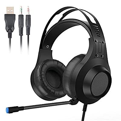 Gaming Headset for PS4, PC, Xbox One Controller, Noise Cancelling Over Ear Headphones Mic