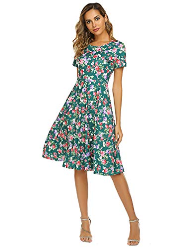 OURS Women's Floral Print Short Sleeve Flared Midi Dress(A-Green,S)
