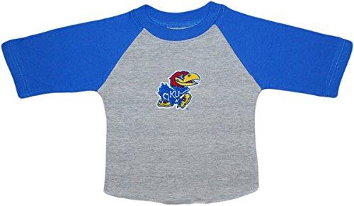 Creative Knitwear University of Kansas Jayhawks Newborn Baby Toddler Ragland Shirt, 4T, Royal