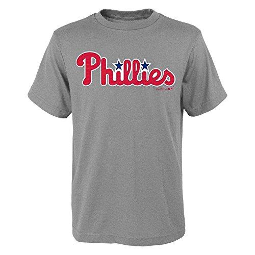 delphia Phillies Youth Boys 8-20 Wordmark Tee-L (14-16), Heather Grey (Phillies Gear)