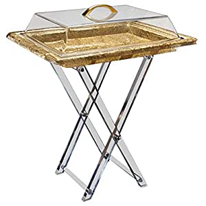 Vague Acrylic Serving Table with Cover - Gold, 50 x 40cm