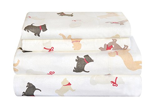 Pointehaven Heavy Weight Flannel Sheet Set, Full, Winter Dogs - Holiday Flannel Sheets