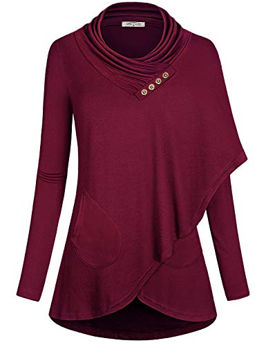 SeSe Code Tunic Sweatshirt Pullover Shirt Long Sleeve for Women Wrap Asymmetrical Hem Lightweight Basic Attire Petite Pocket Athleisure Exercise Clothes Wine Red M