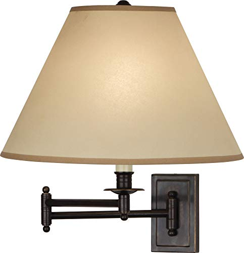 Robert Abbey Z1504XXX Kinetic - One Light Wall Swinger, Deep Patina Bronze Finish with Translucent Flax Parchment Shade