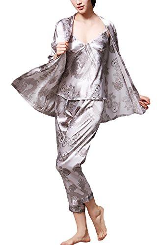 Notte Nobile 3 Pigiama Da Set Chic Vestaglia Da Unique Elegante Pezzi Woman grigio Camicie Uomo Donna Lunghi Pastello Abito Camera Coppia Da P0wnqW5xSZ