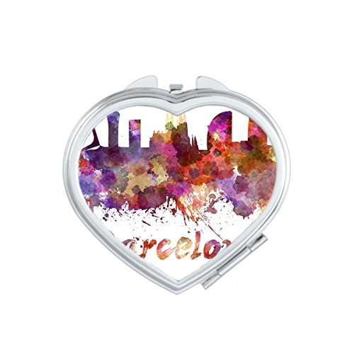 Barcelona Spain Country City Watercolor Illustration Heart Compact Makeup Pocket Mirror Portable Cute Small Hand Mirrors Gift by DIYthinker
