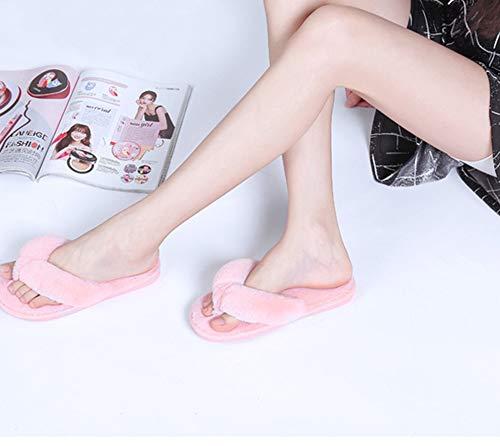 Mode Peluche Tongs Automne La D'intérieur Féminine En hiver De Chaussures Rose xwt0q