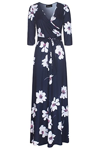 47bac8b98b Zattcas Womens 3 4 Sleeve Floral Print Faux Wrap Long Maxi Dress With Belt  Navy
