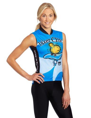 (World Jerseys Women's Biker Chick Sleeveless Cycling Jersey, Blue, Medium )