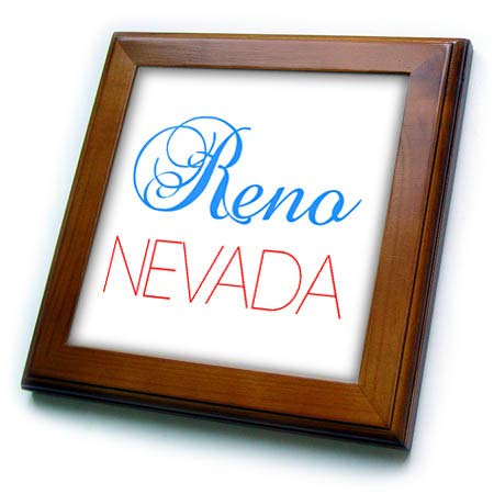 3dRose Alexis Design - American Cities Nevada-New-York - Reno, Nevada Blue, red Text. Patriotic USA Home Town Design - 8x8 Framed Tile -