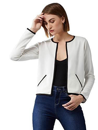 Dolce Crudo Women's Off-White Round Neck Full Sleeve Solid Contrast Piping Open Front Blazer