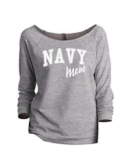 Thread Tank Navy Mom Women's Fashion Slouchy 3/4 Sleeves Raglan Sweatshirt Sport Grey Small ()