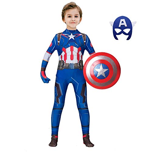 Captain America Bodysuit Costume (The Captain America Kids Bodysuit Superhero Costumes Lycra Spandex Halloween Cosplay Costumes (120,)
