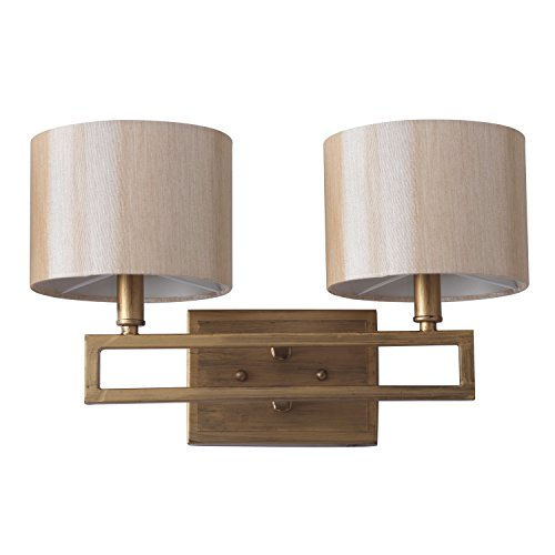 Safavieh Lighting Collection Catena Antique Gold Double Light 9.25-inch Wall Sconce Collection Double Wall Sconce