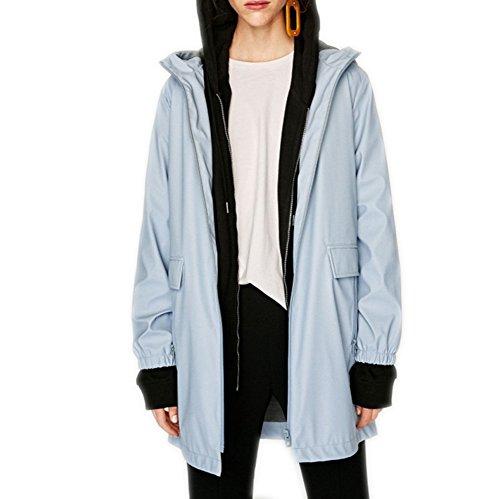 LLXX Women's Raincoat Hooded Waterproof Outdoor Rainwear Rain Jacket Windbreaker Parka Light Blue