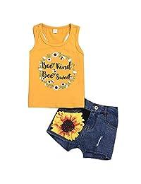 1-8T Toddler Girls Letters Sleeveless Top + Denim Shorts Sunflower Clothes Set