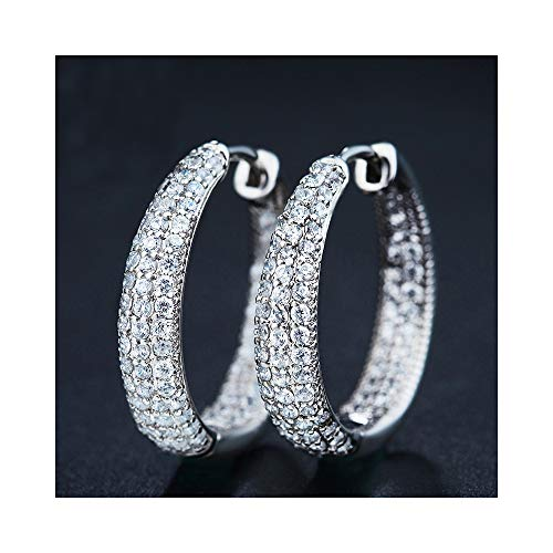 Looboo 14k White Gold Inside Out Hoop Huggie Earrings Pave with CZ Diameter 20 mm