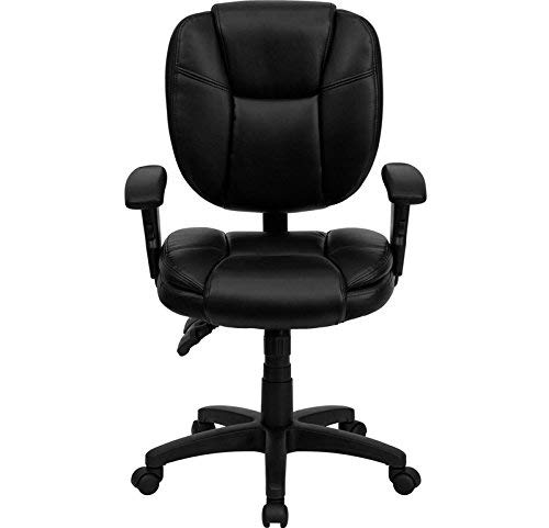 Flash Furniture Mid-Back Black Leather Multifunction Ergonomic Swivel Task Chair with Adjustable Arms