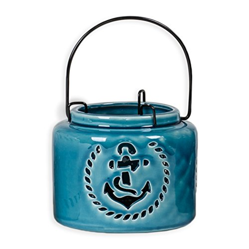 5 Inch Metal Tealight Hanging Nautical Ceramic Lantern, Blue Anchor