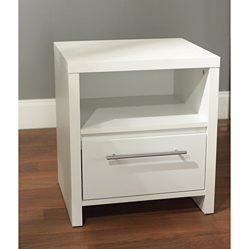 ModHaus Living Modern White Accent End Table Nightstand with 1 Drawer and Open Shelf - Includes Pen