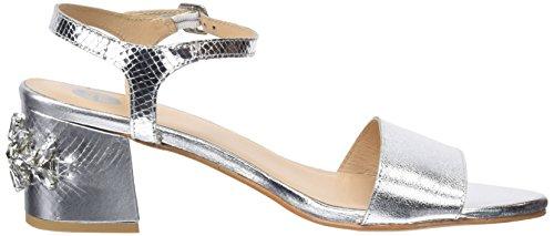Gioseppo 45316, Zapatos de Tacón con Punta Abierta Para Mujer, Plateado (Plata), 41 EU