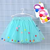Bingoshine 4 Layers Soft Tulle Puff Ball Girls Tutu Skirts with Silky Lining Colorful Princess Costumes for Dressing Up. (White, M,1-3 Years)