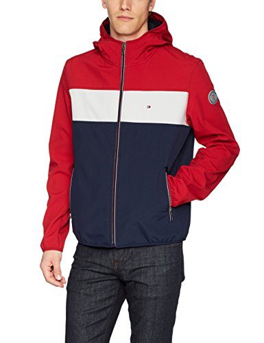 Tommy Hilfiger Men's Hooded Performance Soft Shell Jacket, red/White/Navy, X-Large from Tommy Hilfiger
