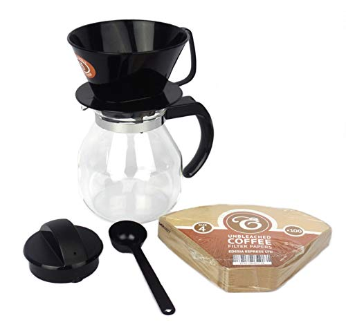1 Litre / 4 Cup Filter Coffee Maker Jug Set + 100 Free Filter Papers by EDESIA ESPRESS