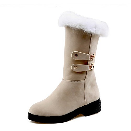 AmoonyFashion Womens Closed-Toe Round-Toe Low-Heels Boots With Fur Ornament and Metal Beige wAp0k