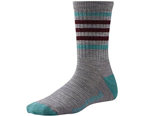 SmartWool Women's Striped Hike Light Crew Socks (Light Gray/Canton) Small