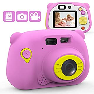 Mansso Kids Camera 1080P HD Digital Camera for Kids with 2 Inch IPS Screen and 16GB SD Card,Mini Rechargeable and Shockproof Camera Creative DIY Camcorder for 3-10 Years Boys Girls Gift