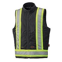 Pioneer V2510370-L Flame Resistant Safety Vest, Quilted, Black, L