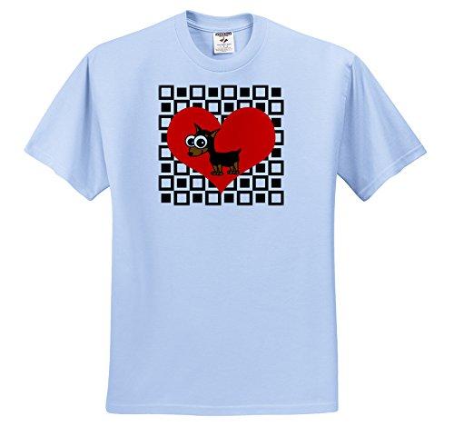 Janna Salak Designs Dogs - I Love Dogs Minpin Miniature Pinscher - T-Shirts - Adult Light-Blue-T-Shirt Large (ts_31192_52)