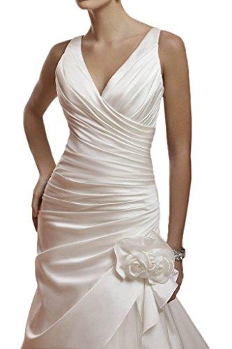 V Milano Hochzeitskleider mit Brillante Brautmode Blumen Schleppe Meerjungfrau Ausschnitt Bride Weiß Brautkleider Damen qnnRt