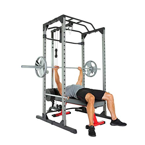 Fitness Reality 810XLT Super Max Power Rack Cage with LAT Pull Down and Low Row Cable Attachment