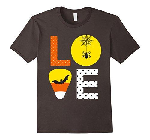 Mens Love Halloween Candy Corn Shirt Bat Spider for Kids Teacher Medium Asphalt
