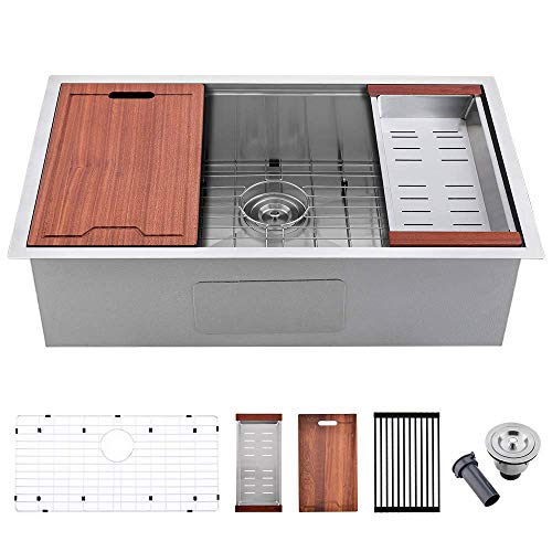Bokaiya 32 Inch Stainless Steel Kitchen Sink Undermount Workstation 16 Gauge Deep Single Bowl Kitchen Sink