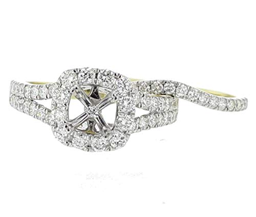 (Midwest Jewellery 14K Gold Wedding Set Semi Mount Ring Setting Only Fits 1 to 2ct Solitaire Halo Style Split Sides 1.25CTW)