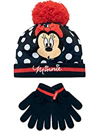 Disney Girls Minnie Mouse Hat and Gloves Set Blue One Size