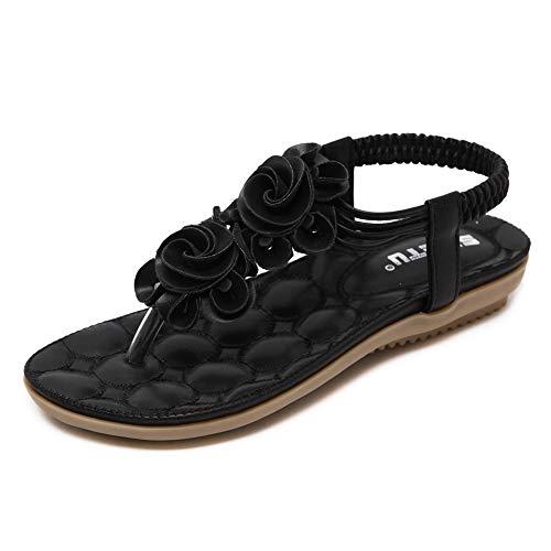 Yicornchen Women's T-Strap Beaded Flower Flat Sandals Summer Beach Dress Shoes(8 B(M) US,Black)