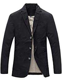 Men's Casual Three-Button Stripe Lined Cotton Twill Suit Jacket