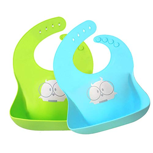 Baby Silicone Bibs Owl,Toddler Soft Waterproof Feeding Bibs Easily Wash,Food Grade 2 pack
