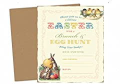 Vintage Easter Brunch & Egg Hunt Party Supply Invitation with Envelopes